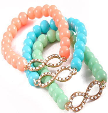 Armband infinity in pastel
