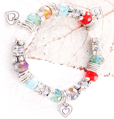 Bracelet colorfull crystals and hearts