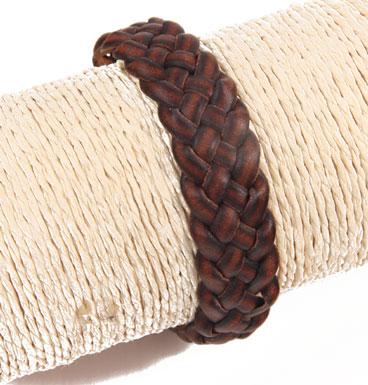 Leather bracelet braid brown