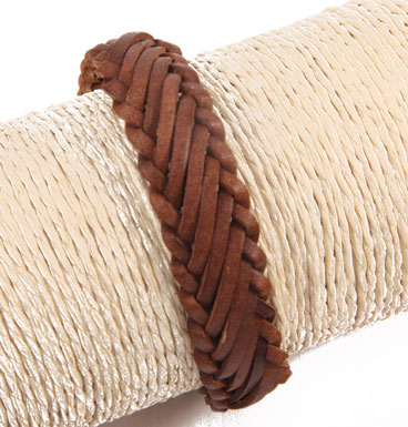 Leather bracelet braid brown varia II