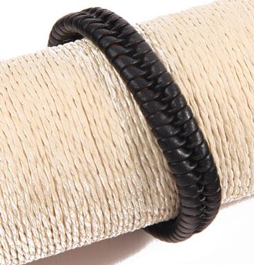 Leather bracelet braid black varia III