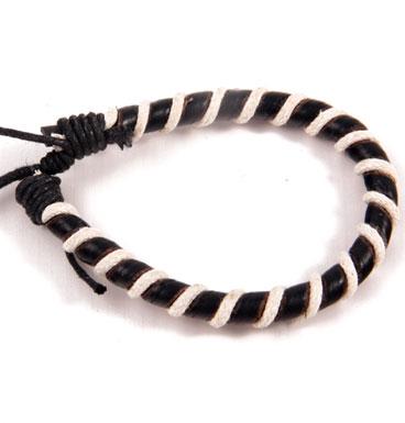 Leather rope bracelet black & white