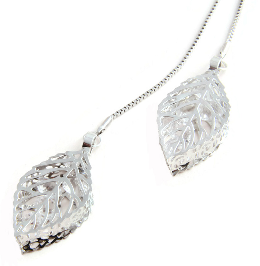 Necklace Crystal filled leafs