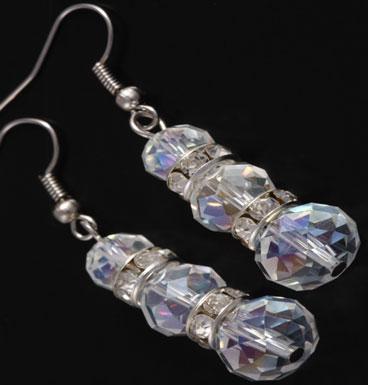 Earrings Triple Crystal