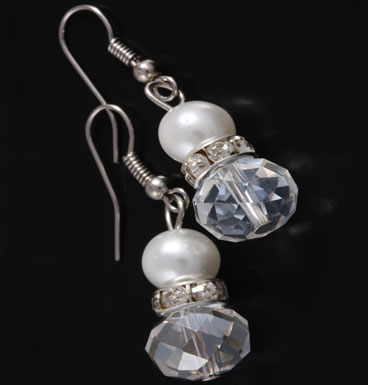 Oorbellen Crystal and pearly