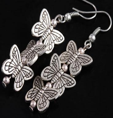 Oorbellen drievoudige Butterfly kisses