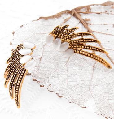 Earrings Art Deco feathers