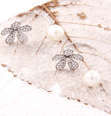 Earrings Double dot pearly and strass flower
