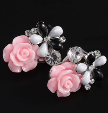 Earrings Pink flower bouquet