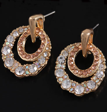Earrings Gold circles and strass