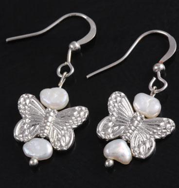 Oorbellen Butterfly kisses en zoetwater parels