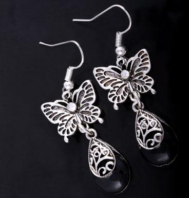 Earrings Butterfly and dewdrop