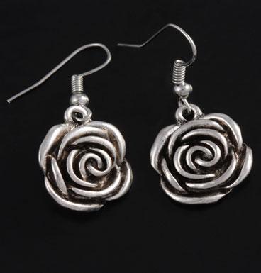 Oorbellen Silver rose