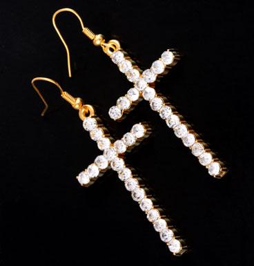 Earrings Cross strass