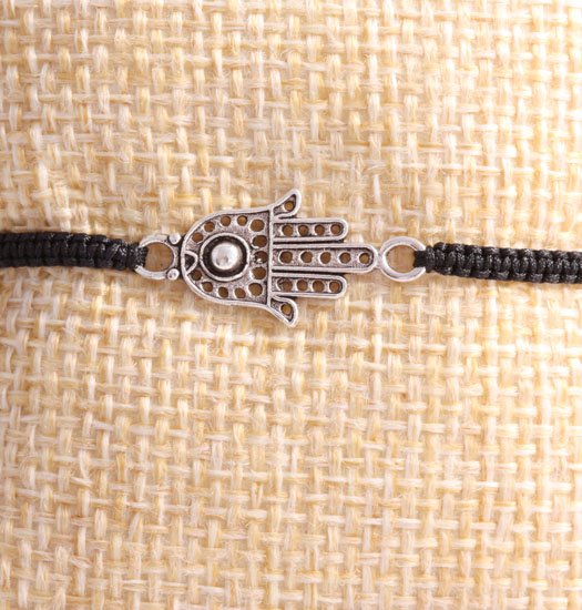 Silver Fatima Hand & Pull Rope Bracelet