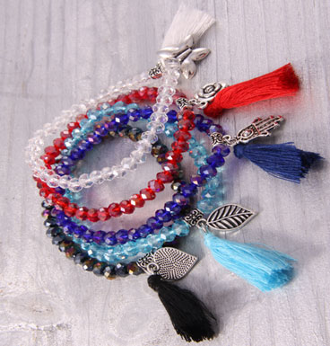 Bracelet Crystal, charm and tassle