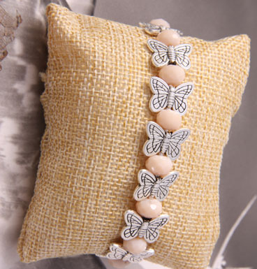 Armband Butterfly kisses and peach crystals