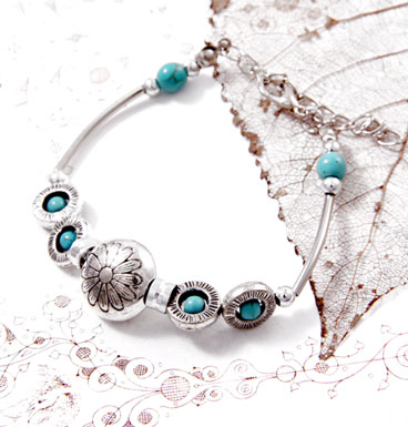 Bracelet turqoise and silver flower
