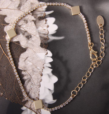 Enkelbandje squares and strass (gold)