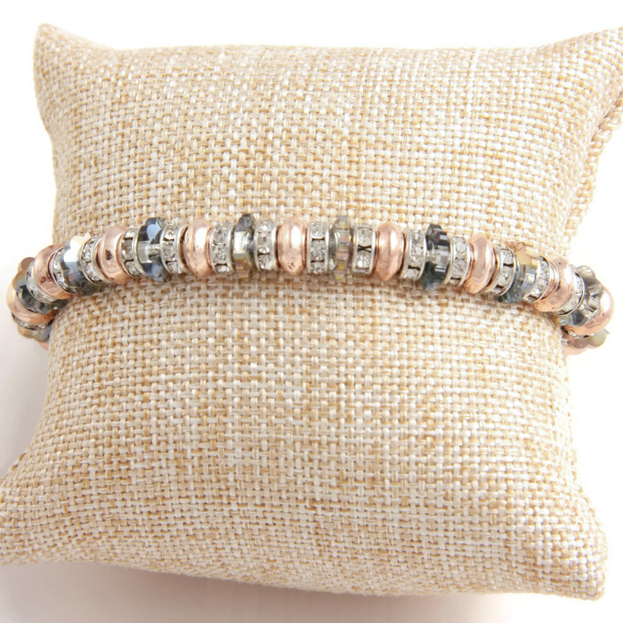 Bracelet Crystal Pieces, metal and strass