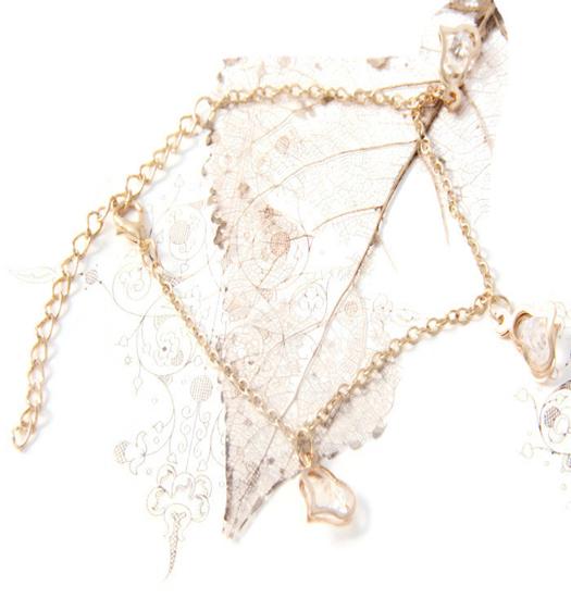 Anklet crystal filled hearts