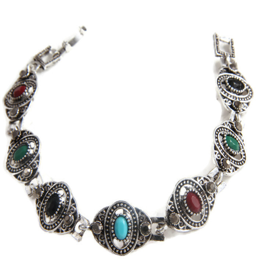Bracelet marcasite and color oval