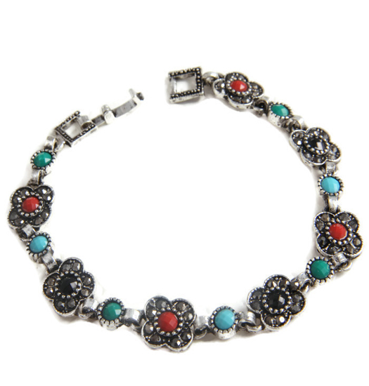 Bracelet marcasite and color flowers