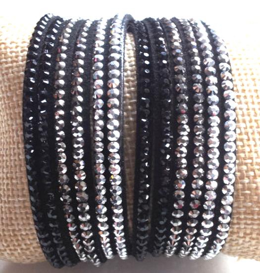 Armband white,grey, black double glitter wrap