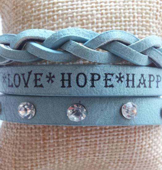 Bracelet Message Wrap love-hope-happiness