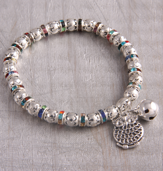 bracelet colored strass and owl