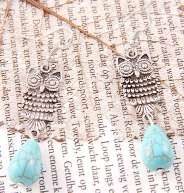 Earrings Owl and turqoise dew drop