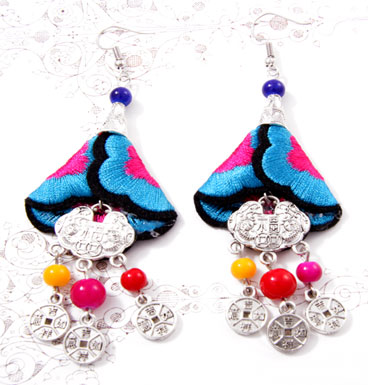 Earrings Embroided Flowers