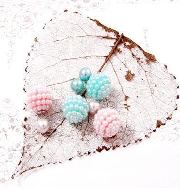 Earrings Double Dot pearl dots