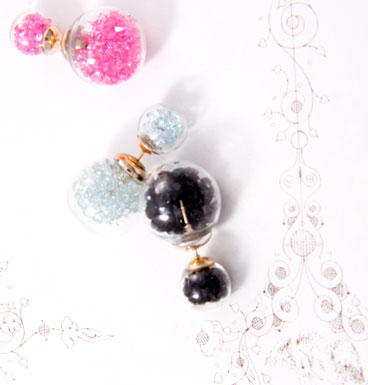 Earrings Double Dot crystals