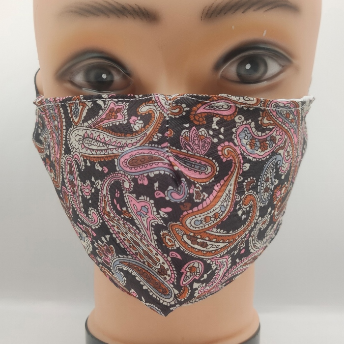 Mask Fancy Paisley Black & Pink