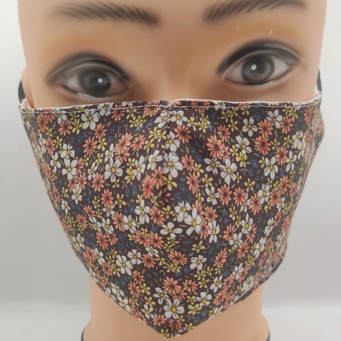 Mask Sweet flowers brown & blue
