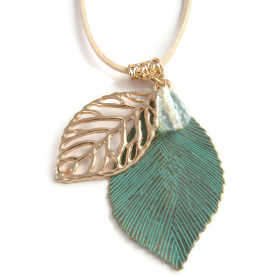 necklace and green leaf