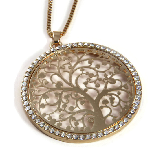 Ketting Tree of life XL with strass circle