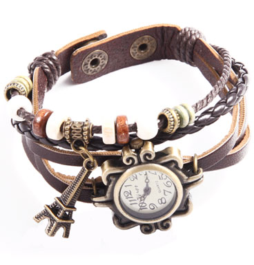 Leather watch Push Button Holidays