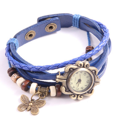 Leather watch Push Button Butterfly