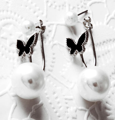 Earrings Double Dot and butterfly