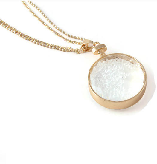 Necklace Looking glass filled with crystals