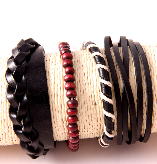 Set of braided leather and red beads