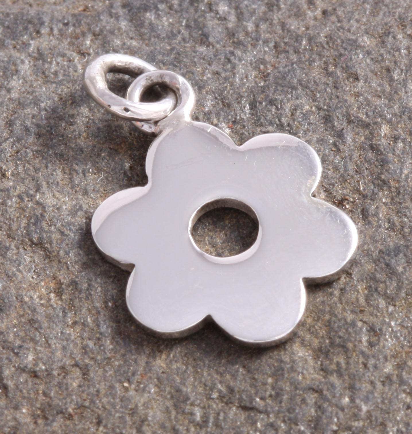 Zilveren Luck Charm Hanger Bloem