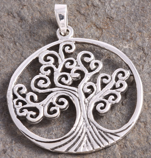 Zilveren Hanger Tree of Life groot