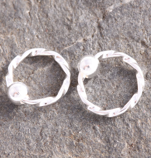 Silver Twisted Hoop Earrings