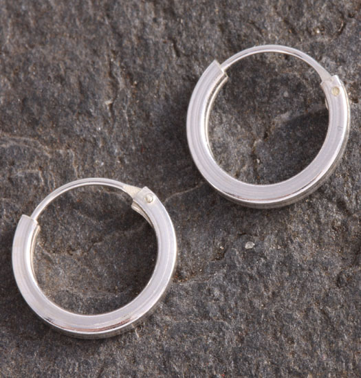 Silver Round Square Tube Earrings