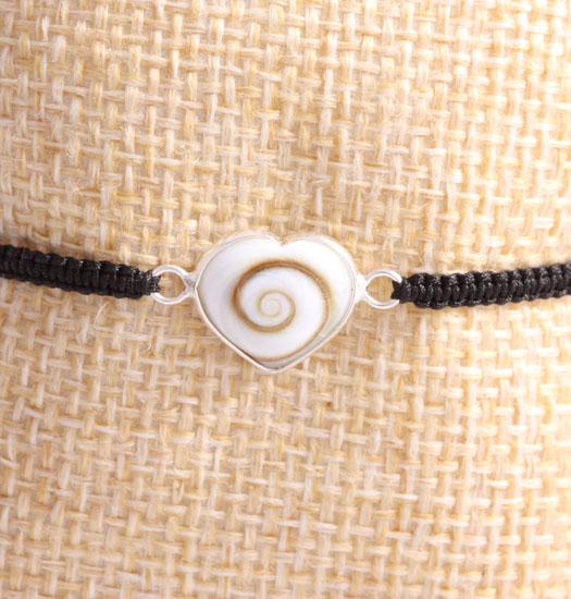 Shell Heart set in Silver on Pull Rope Bracelet