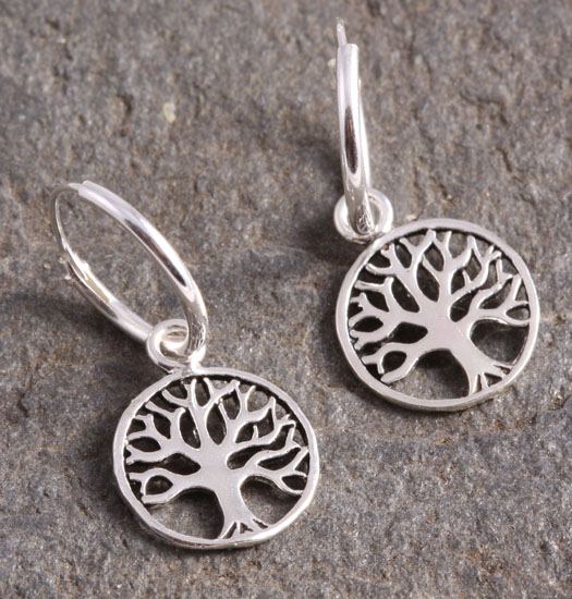 Silver Luck Charm Earring Tree of Life 3