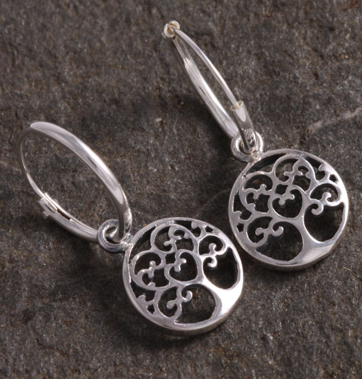 Silver Luck Charm Earring Tree of Life